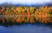 Man-made Lake Posters - Rising Fog Fall Color Poster by Thomas R Fletcher