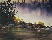 Beaver Pond Paintings - Rising Mist by Madelaine Alter