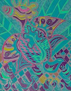 Visionary Art Drawings Posters - Rising Poster by Monica Dias