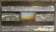 Rustic Pastels - Rising Moon in frame constructed from salvaged wood from a home destroyed by Hurricane Katrina by Cheryl Brumfield Knox