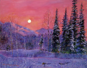 Snowy Night Painting Metal Prints - Rising Snow Moon Metal Print by David Lloyd Glover
