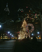 Philadelphia Skyline Art - Rittenhouse Square Christmas Lights by Edwin Voorhees