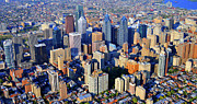Philadelphia From The Air Prints - Rittenhouse Square Park and Philadelphia Skyline Print by Duncan Pearson
