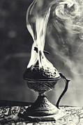 Incense Smoke Framed Prints - Ritual in Black and White Framed Print by Laura George