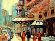 Crowds Paintings - Ritz Carlton Montreal Cityscenes  by Carole Spandau