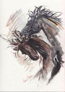 Horse Paintings - Rival Stallion Sketch by Callie Smith