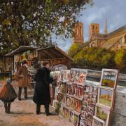 France Paintings - Rive gouche by Guido Borelli