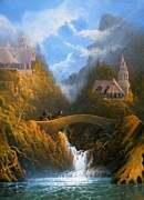 Lord Of The Rings Painting Posters - Rivendell The Lord Of The Rings Tolkien inspired art   Poster by Joe  Gilronan