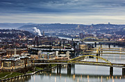Allegheny River Posters - River And Bridges At Dawn Poster by Bob Stefko