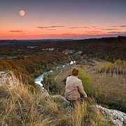 Meander Prints - River and Moon Print by Evgeni Dinev