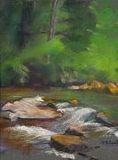 Woodland Pastels Originals - River at Big Canoe by Evelyn  M  Breit