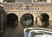 Pulteney Bridge Framed Prints - River Avon at Pulteney Bridge Framed Print by Andrew  Michael