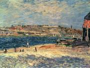 Seaside Framed Prints - River Banks at Saint-Mammes Framed Print by Alfred Sisley