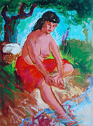 Bathing Paintings - River Bathing by Bill Joseph  Markowski