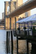 Brooklyn Bridge Prints - River Cafe with Brooklyn Bridge Print by Christopher Kirby