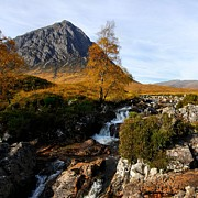 Photos Of Autumn Digital Art Framed Prints - River Coupall and Buachaille Etive Mor near Glen Etive and Glencoe in Scotland Framed Print by John Kelly