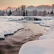Square Tapestries Textiles - River Covered With Snow At Winter by Ingólfur Bjargmundsson