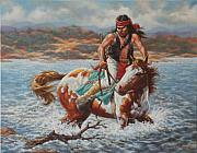 Native American Art - River Crossing by Harvie Brown