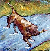 Doggies Paintings - River Dog - Chocolate Lab by Sara Zimmerman