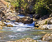 Susan Leggett Art - River Flowing Through Large Rocks by Susan Leggett