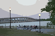 Palatka Bridge Prints - River Front Print by Nita Hastings