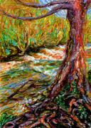 Tree Roots Pastels Framed Prints - River Hafren in September Framed Print by Alexandra Cook