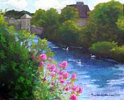Impressionistic Landscape Painting Originals - River in Galway by Brenda Williams