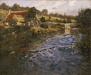 Stone Bridge Posters - River Landscape with a Washerwoman  Poster by Fritz Thaulow