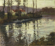Village Paintings - River Landscape with Ducks  by Fritz Thaulow