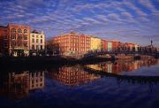 Reflections Of Building In Water Prints - River Liffey And Halfpenny, Bridge Print by The Irish Image Collection