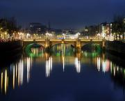 Reflections In River Framed Prints - River Liffey At Night, Oconnell Street Framed Print by The Irish Image Collection