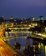 Night Scenes Photos - River Liffey Bridges, Dublin, Ireland by The Irish Image Collection