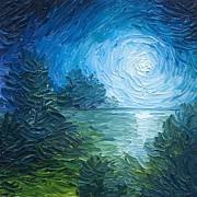 Ripples Paintings - River Moon by James Christopher Hill
