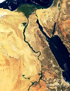 February Ocean Prints - River Nile Print by NASA / Science Source