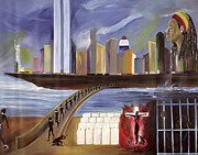 Twin Towers Trade Center Painting Metal Prints - River of Babylon  Metal Print by Ikahl Beckford