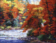 Fall Season Painting Posters - River of Colors Poster by David Lloyd Glover
