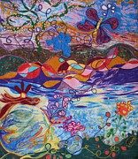 Abstract Tapestries - Textiles Framed Prints - River of Life Framed Print by Heather Hennick