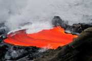 Sami Sarkis Prints - River of molten lava flowing to the sea Print by Sami Sarkis