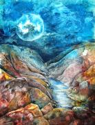 Expressionism Mixed Media Posters - River of Souls Poster by Patricia Allingham Carlson