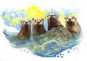 Science Fiction Pastels - River Otters by Janice Lawrence