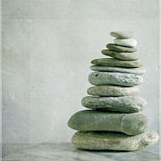 On Top Of Prints - River Pebble Stone Pile Print by Paul Grand Image
