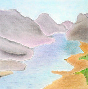 Collagraph Pastels - River by Soft Pastel Paintings