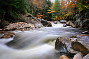 New Hampshire Fall Foliage Framed Prints - River Rapids - North Sandwich  New Hampshire Framed Print by Thomas Schoeller