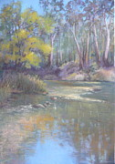 Riverbank Pastels Posters - River Reflection Poster by Pamela Pretty
