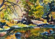 Therese Fowler-bailey Prints - River Reflections in Yosemite Autumn Print by Therese Fowler-Bailey