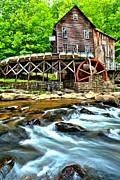 Grist Mill Posters - River Rock And A Grist Mill Poster by Adam Jewell