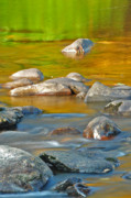 River Scenes Posters - River Rock and Color Bands - abstract nature Poster by Thomas Schoeller