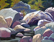 Three Pastels Metal Prints - River rocks of Three Rivers Metal Print by Patricia Rose Ford