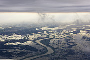 River Flooding Photo Posters - River Running through a Flooded Countryside Poster by Jeremy Woodhouse