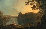 18th Century Painting Framed Prints - River scene- bathers and cattle Framed Print by Richard Wilson